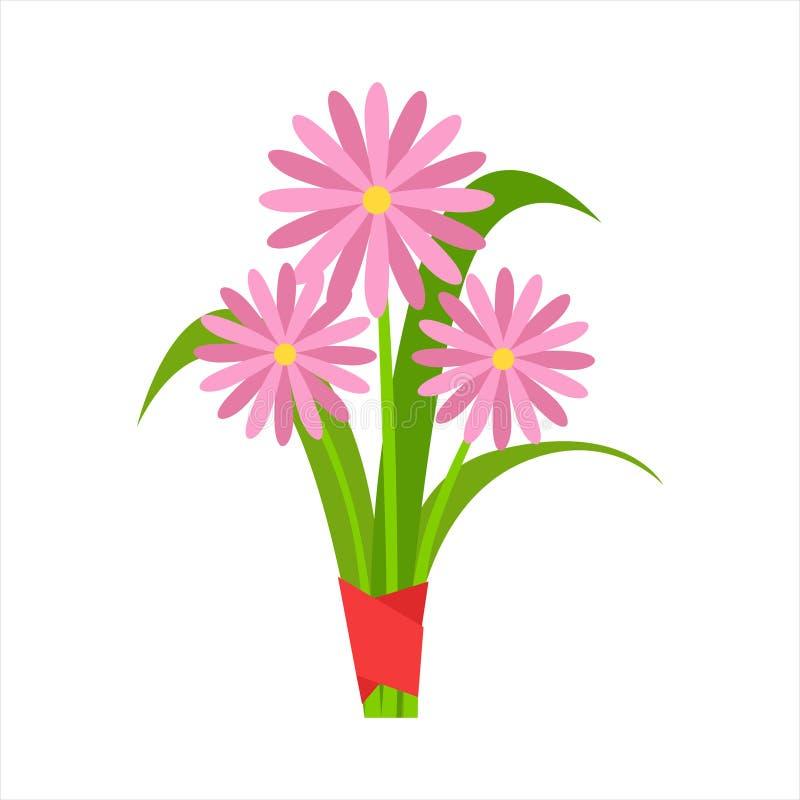 Rosa Orangerie-Kamillen-Blumen-Blumenstrauß gebunden mit rotem Band, Blumenladen-Zierpflanze-Zusammenstellungs-Einzelteil-Karikat lizenzfreie abbildung