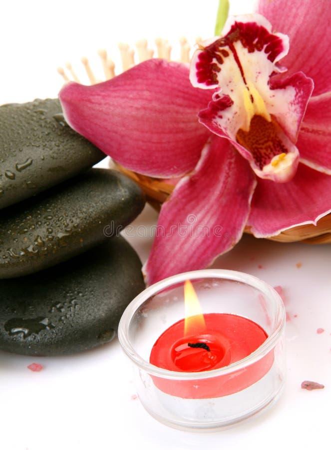 Rosa orkidé och stearinljus arkivbild