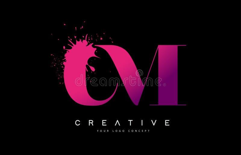 Rosa púrpura cm C M Letter Logo Design con vector del derramamiento del chapoteo de la acuarela de la tinta stock de ilustración