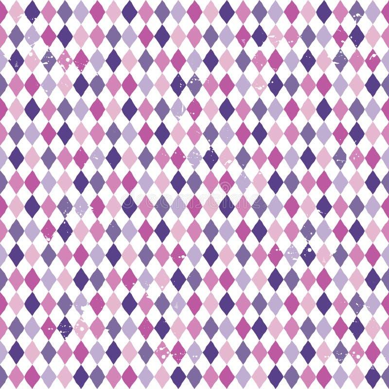 Rosa púrpura del argyle del fondo inconsútil del diamante ilustración del vector