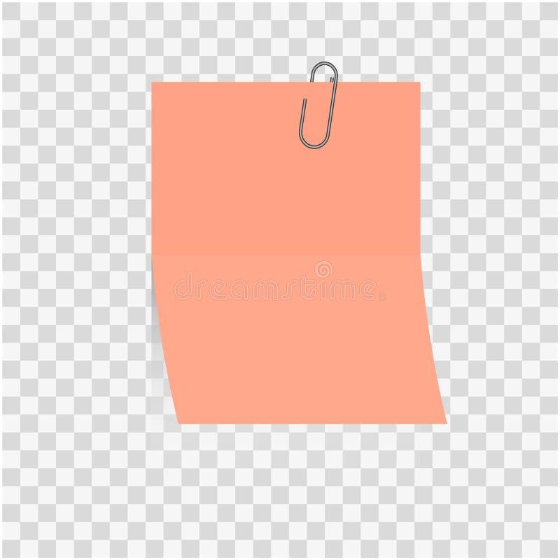 Rosa Papierrahmen oder Stock des anmerkungsfreien raumes zur Siegelaufzeichnungsbüroklammer lokalisiert auf Hintergrund stock abbildung