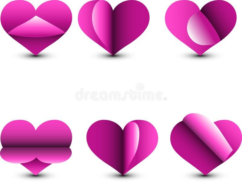 Rosa pappers- hjärtasymbolsuppsättning som isoleras från den vita bakgrunden white f?r symbol f?r bakgrundsf?r?lskelsered rose ab vektor illustrationer