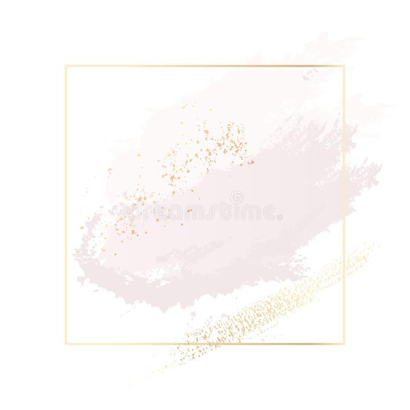 Rosa pastel e cursos da escova e linhas cor-de-rosa do ouro no retângulo Quadro do contorno do texute da folha do brilho do ouro ilustração royalty free