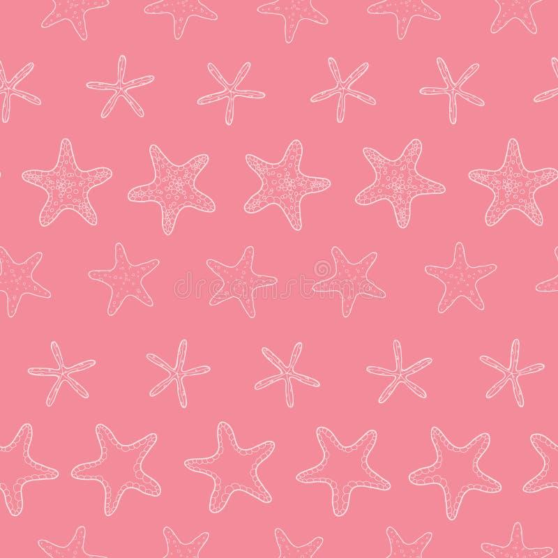 Rosa pastellfärgad bandlinje sömlös konst för sjöstjärna stock illustrationer