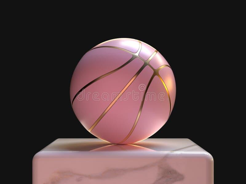 rosa Pastellgoldabstrakter Ball/Basketball 3d ?bertragen Sportgegenstandkonzept stock abbildung