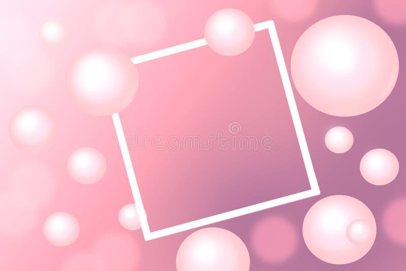 Rosa Perlen um rechteckigen weißen Rahmen auf rosa Hintergrund stockbilder