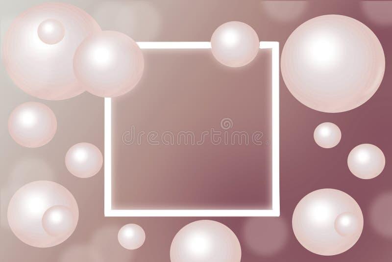 Rosa Perlen um rechteckigen weißen Rahmen auf Steigungshintergrund stockfotos