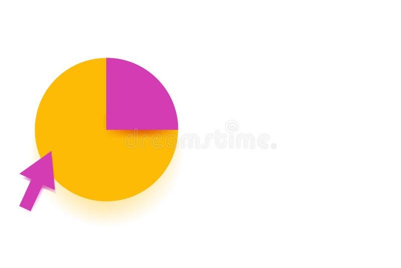 Rosa pilmarkör som uppåt pekar till två Tone Pie Chart Isolated Pilört som knackar lätt på det runda diagrammet Id?rik mall vektor illustrationer