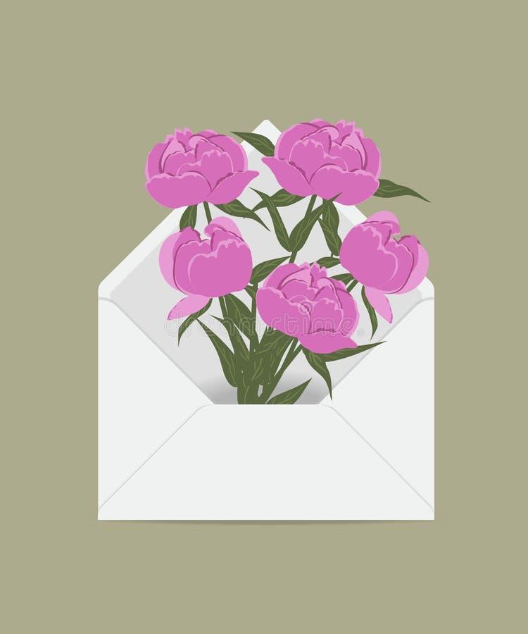 Rosa pioner i postkuvertet stock illustrationer