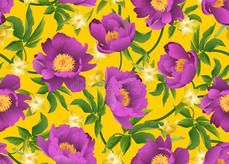 Rosa pioner på gul bakgrund seamless vektor för blom- modell stock illustrationer