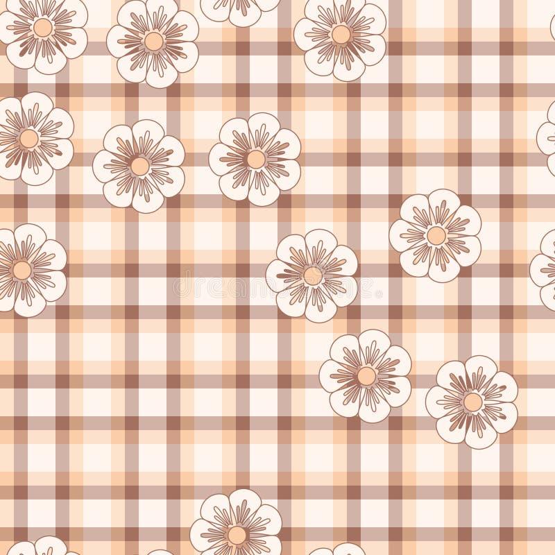 rosa pläd för blomma stock illustrationer