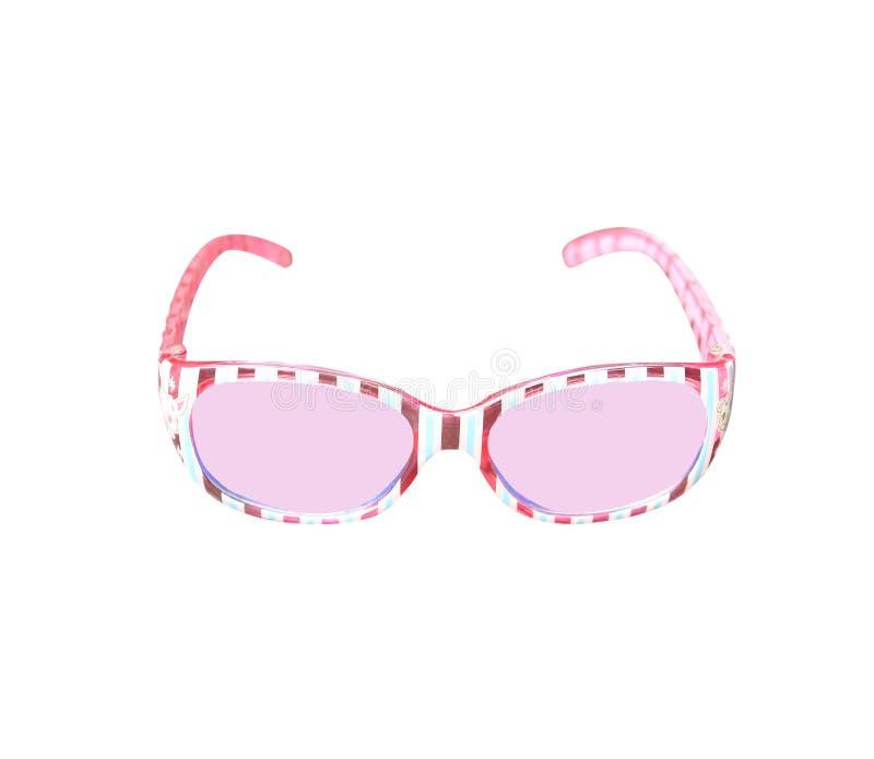 Rosa Plastiksonnenbrille lokalisiert auf weißem Hintergrund lizenzfreie stockfotografie