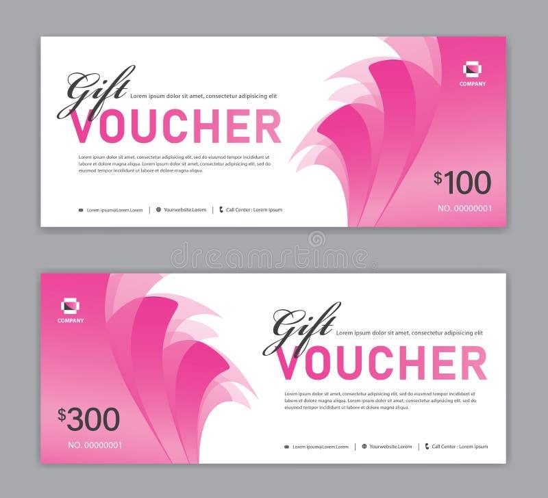 Rosa presentkortmall, Sale baner, horisontalorientering, rabattkort, titelrader, website, blå bakgrund, vektor royaltyfri illustrationer