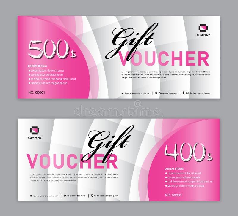 Rosa presentkortmall, Sale baner, horisontalorientering, rabattkort, titelrader, website, blå bakgrund, vektor stock illustrationer