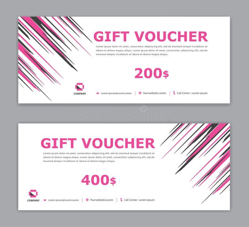 Rosa presentkortmall, Sale baner, horisontalorientering, rabattkort, titelrader, website, blå bakgrund, vektor vektor illustrationer