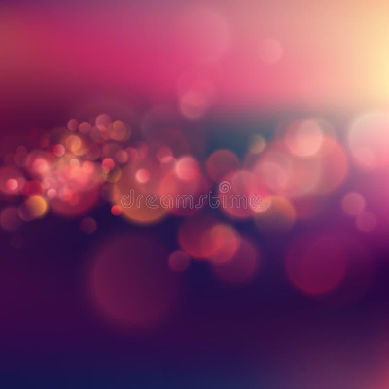 Rosa purpurfärgad aftonsolnedgång för sommar Defocused landskap i solljus med linssignalljuset och färgrik bokeh Stads- nattljus stock illustrationer