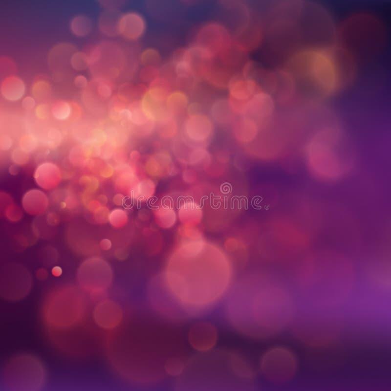 Rosa purpurfärgad aftonsolnedgång för sommar Defocused landskap i solljus med linssignalljuset och färgrik bokeh Stads- nattljus vektor illustrationer