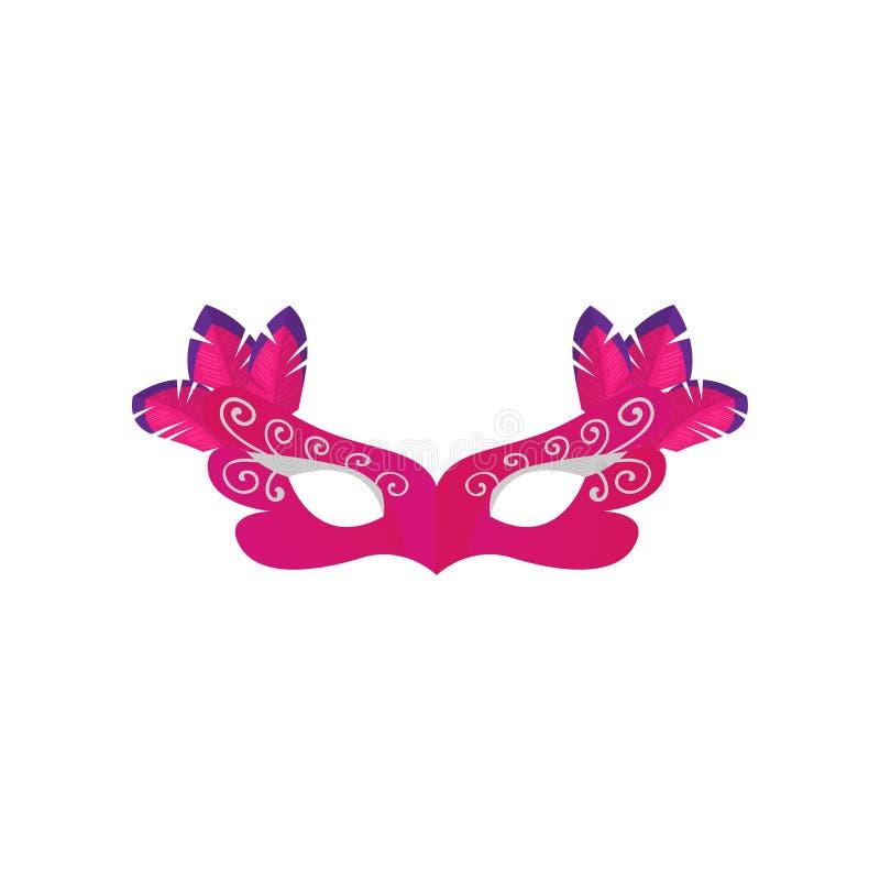 Rosa purpurfärgad färgkarnevalmaskering med den färgrika fjädern vektor illustrationer