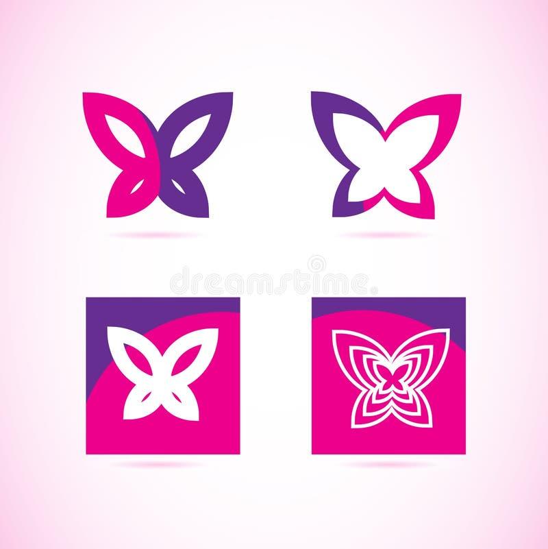 Rosa purpurfärgad fjärilslogo vektor illustrationer