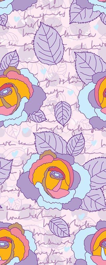 Rosa purpurfärgad sömlös modell för förälskelsebokstav länge vektor illustrationer