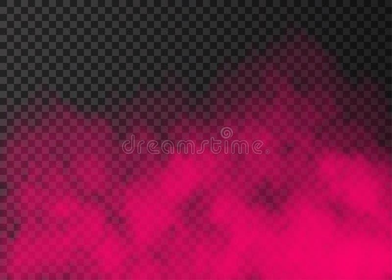 Rosa rök eller dimma på genomskinlig bakgrund royaltyfri illustrationer