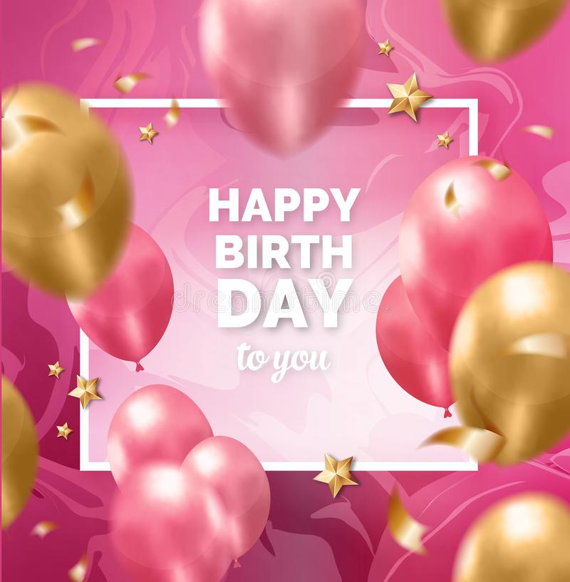Rosa Rahmen der alles- Gute zum Geburtstagschönheit mit nahtlosem abstraktem Entwurfsmuster vektor abbildung