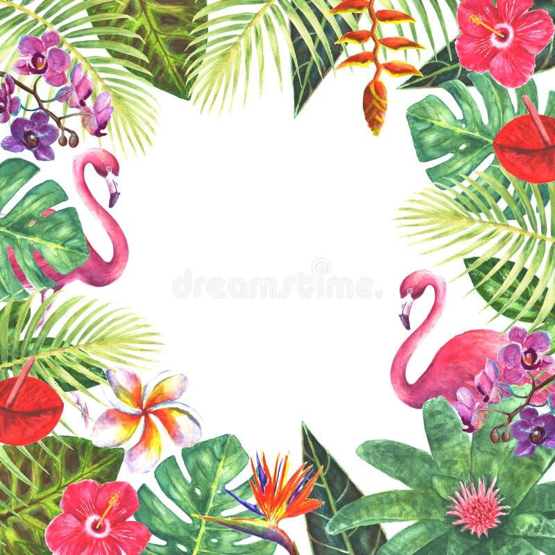 Rosa Rahmen des Flamingos tropische Betriebs lizenzfreie abbildung