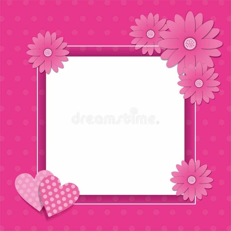 Rosa Rahmenentwurf mit Blumen- und Herzdekoration lizenzfreie abbildung