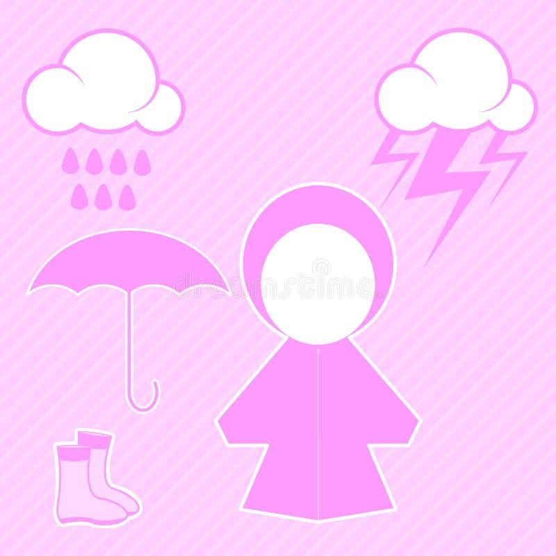 Rosa raincoat och raindrop royaltyfri illustrationer