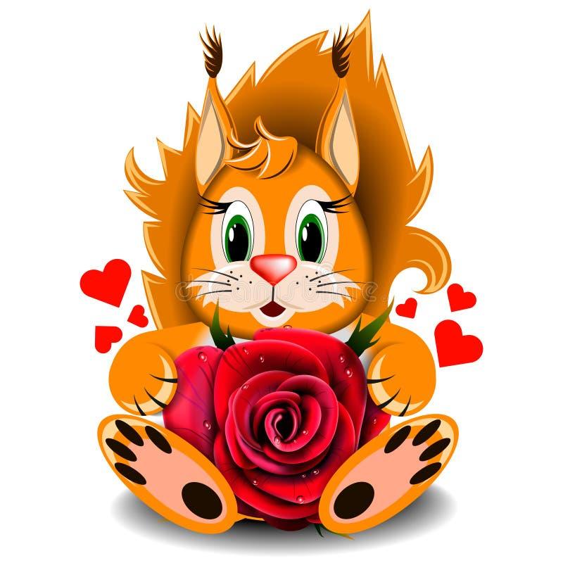 Rosa realística do vermelho do esquilo loving do brinquedo