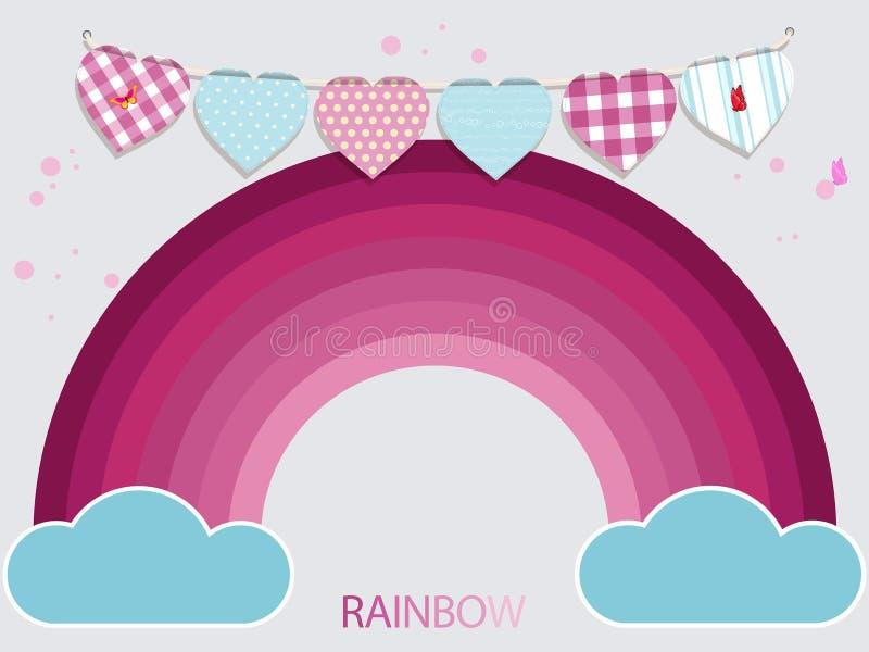 Rosa regnbåge för ungar och buntingbakgrund stock illustrationer