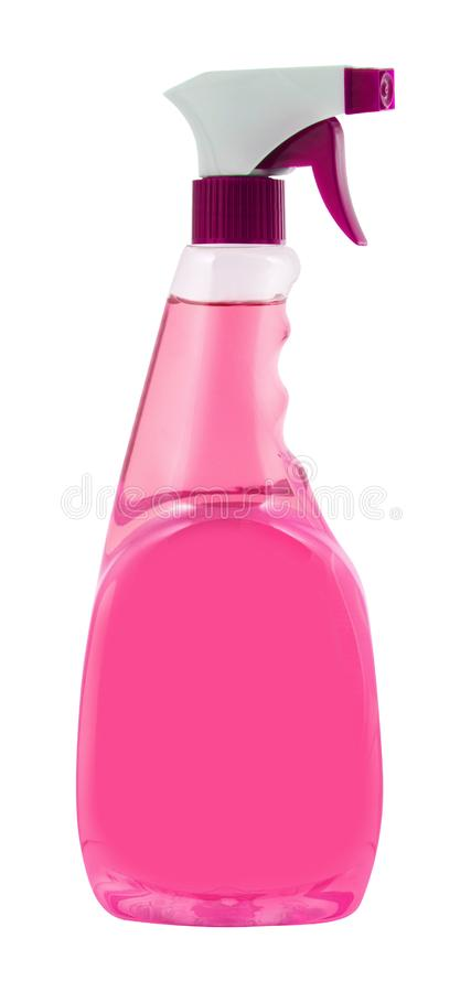 Rosa Reinigungs-Sprühflasche lokalisiert auf Weiß stockfoto