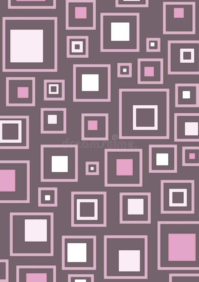 rosa retro fyrkanter royaltyfri illustrationer
