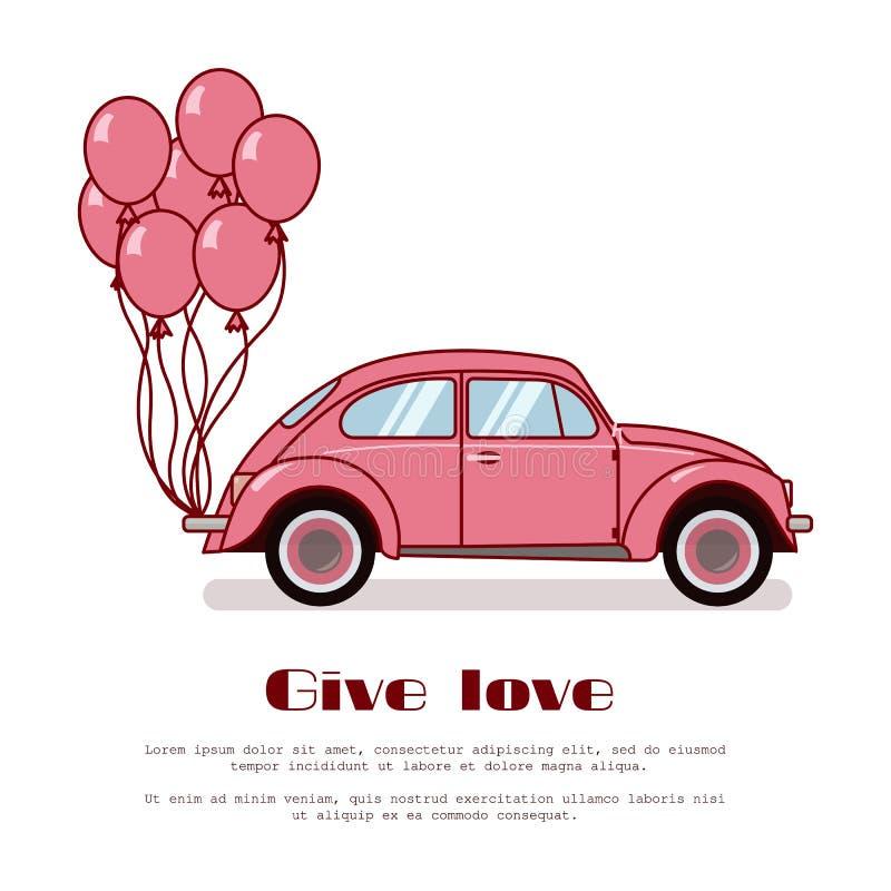Rosa Retro- Käferauto mit Heißluft steigt auf dem Stamm im Ballon auf, der auf weißem Hintergrund lokalisiert wird Flache Vektori lizenzfreie abbildung