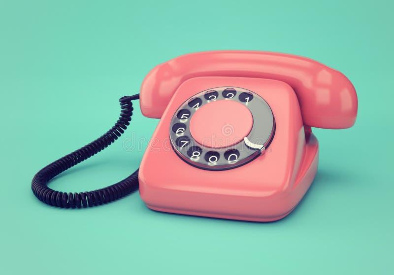 Rosa retro telefon royaltyfri bild