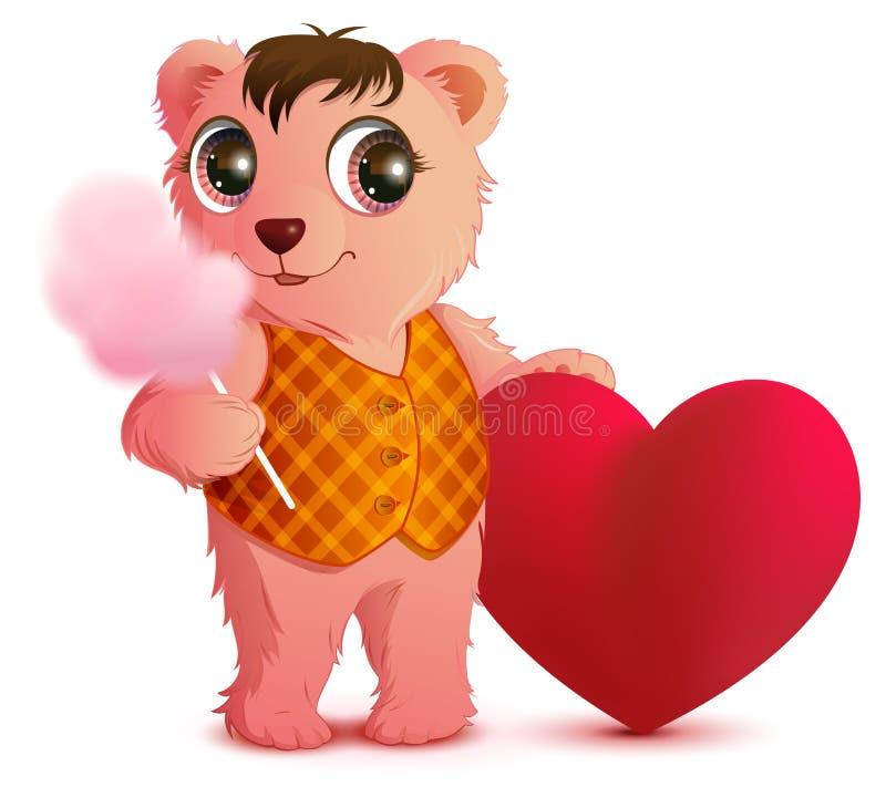 Rosa roliga björnhåll söt bomull och hjärta formar 8 extra ai som kontroll för hälsning för mapp för eps för bakgrundskortdag nu  royaltyfri illustrationer