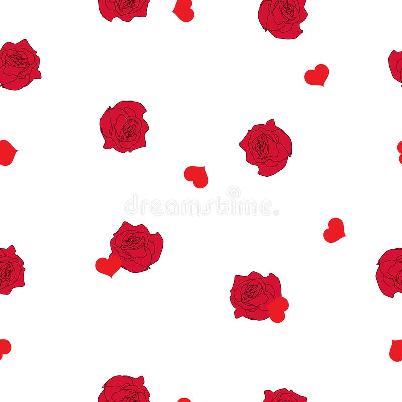 Rosa ros för sömlös modell och rött hjärtaregn på vit, vektor eps 10 vektor illustrationer