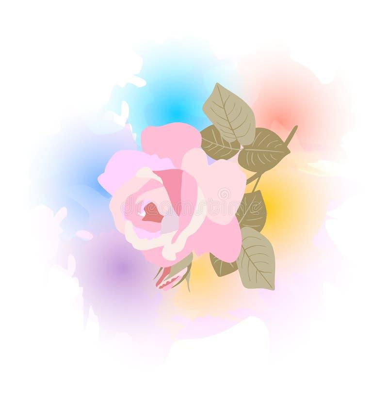 Rosa rosada que cae contra puntos de las acuarelas del arco iris Elemento del dise?o Impresión para la camiseta libre illustration