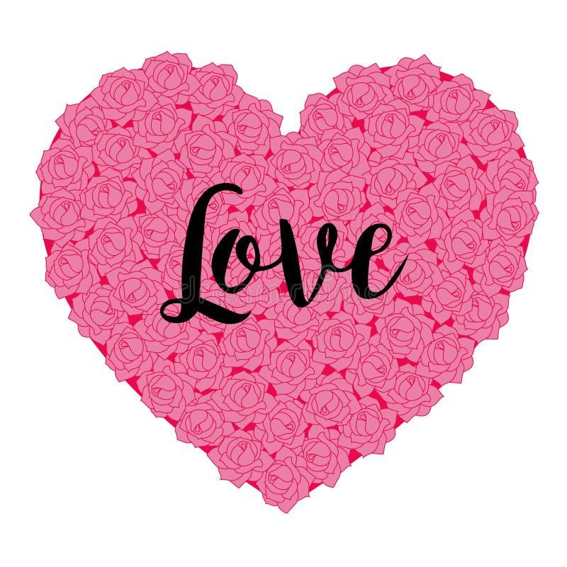 Rosa Rose Valentine Love Heart vektor illustrationer
