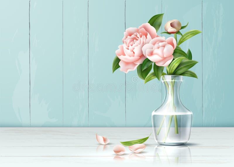 Rosa-Rosenblume des Vektors verlässt realistische Blumenstrauß vektor abbildung