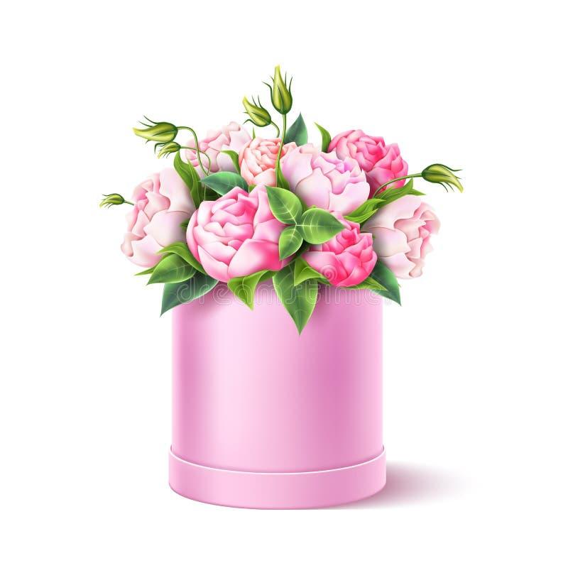 Rosa-Rosenblume des Vektors verlässt realistische Blumenstrauß stock abbildung