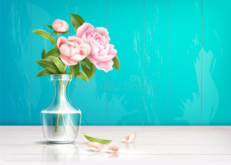 Rosa-Rosenblume des Vektors verlässt realistische Blumenstrauß lizenzfreie abbildung