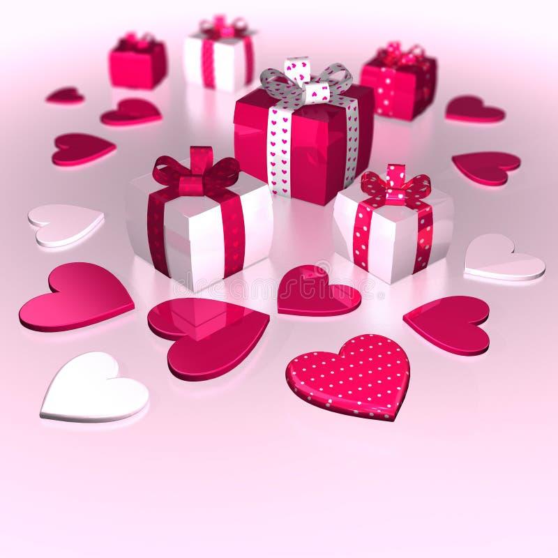 Rosa roseo bianco di caro di Polka dei regali del cuore di giorno del ` s del biglietto di S. Valentino illustrazione di stock