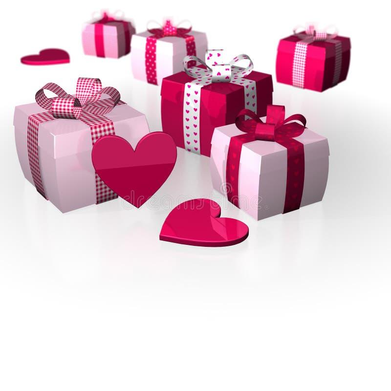 Rosa roseo bianco di caro di Polka dei regali del cuore di giorno del ` s del biglietto di S. Valentino royalty illustrazione gratis