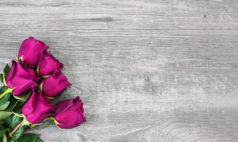 Rosa rosor över lantlig träbakgrund stock illustrationer