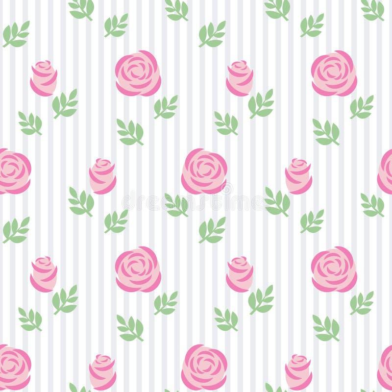 Rosa rosor för sömlös tapet med sidor på randig bakgrund stock illustrationer