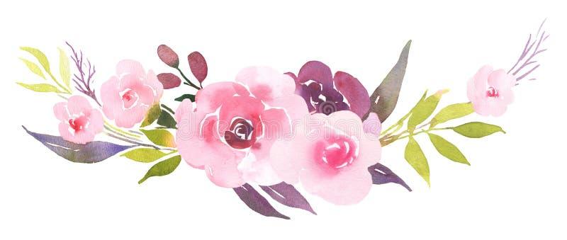 Rosa rosor i blomvattenfärgbukett stock illustrationer