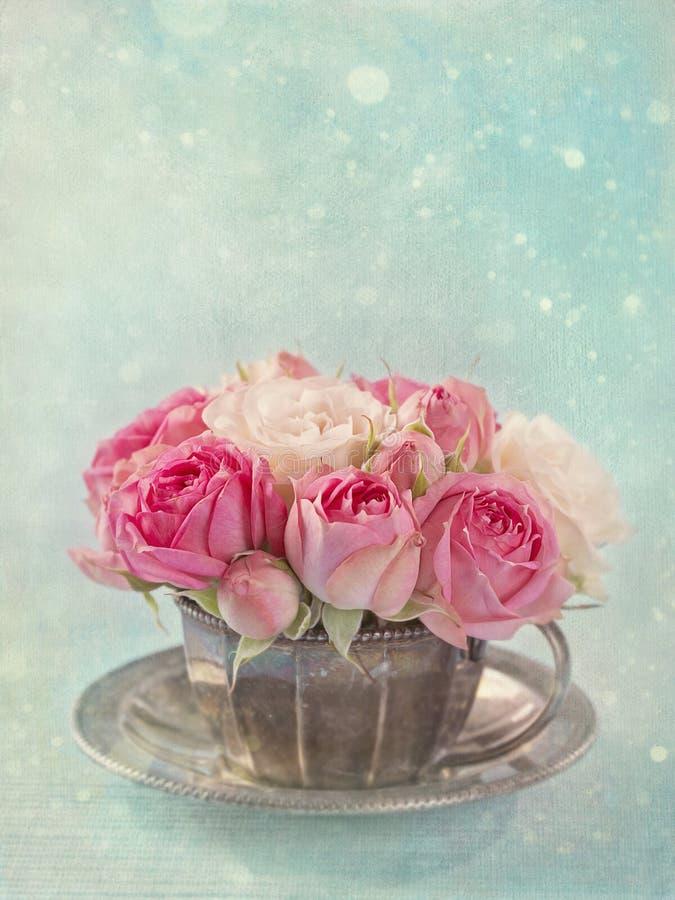 Rosa rosor i en tekopp royaltyfria bilder