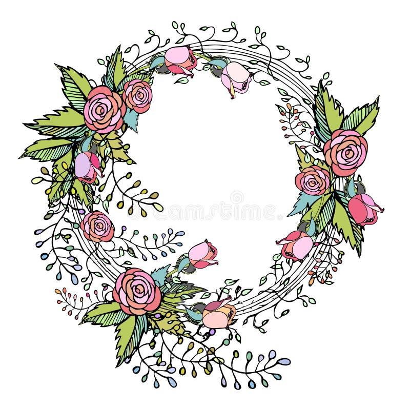 Rosa rosor på kransen i den nätta handen dragen blommaordning planlägger royaltyfri illustrationer