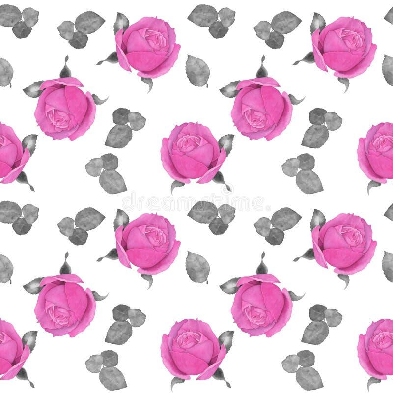 Rosa rosor på vit bakgrund 2 seamless modell vektor illustrationer